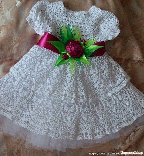 Delicadezas en crochet Gabriela: Vestido de niña ideal para bautismo ...