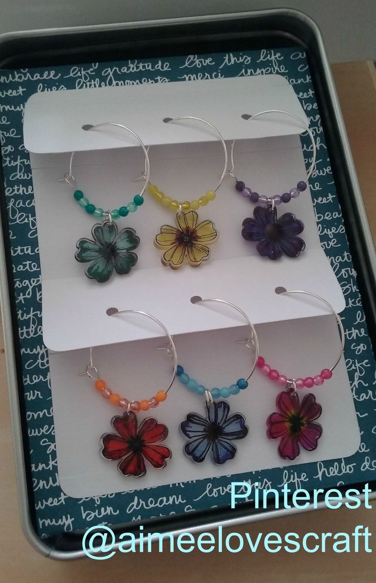 A set of wine glass charms made as part of a christmas