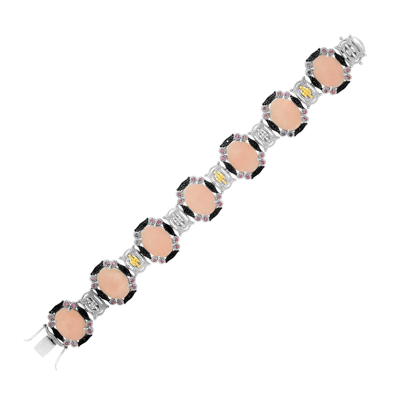 K yellow gold u sterling silver bracelet with quartz rhodolite