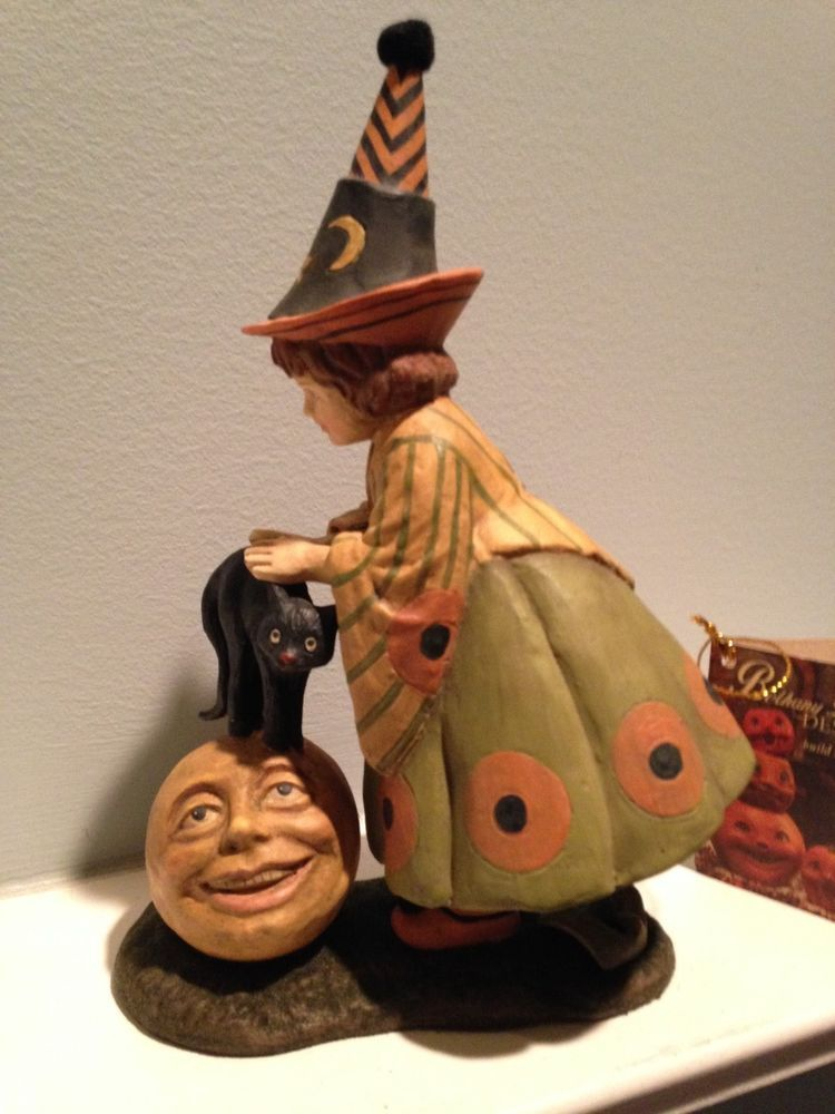 Bethany Lowe Halloween - LITTLE WITCH WITH CAT ON MOON - NEW Fall - lowes halloween