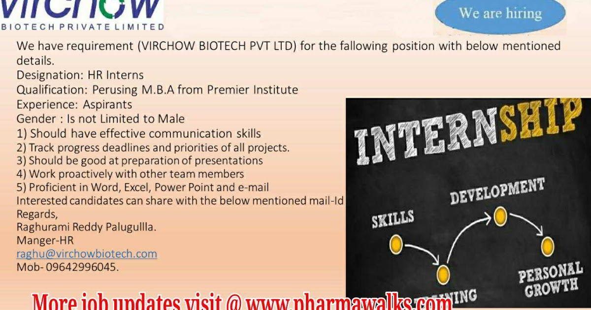 Virchow Biotech Pvt Ltd hiring for HR interns Apply Now
