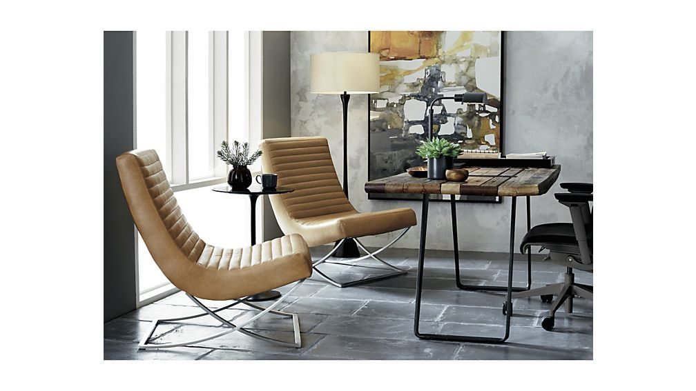 Cooper Armless Leather Chair   Cigar | Crate And Barrel