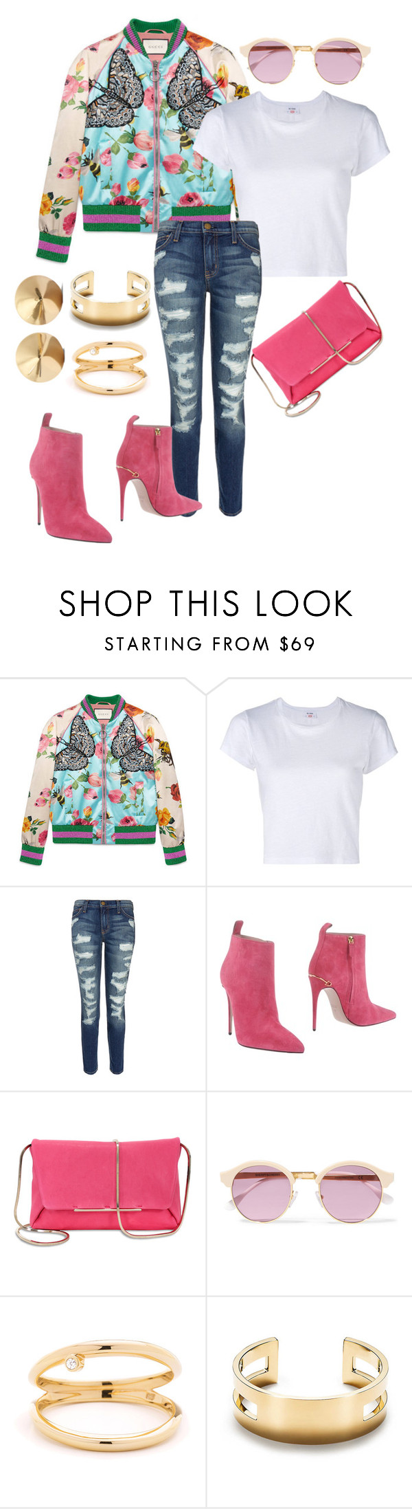 """""""Untitled #56"""" by stylesbylex on Polyvore featuring Gucci, RE/DONE, Current/Elliott, Lanvin, Sheriff&Cherry, Tiffany & Co. and Eddie Borgo"""