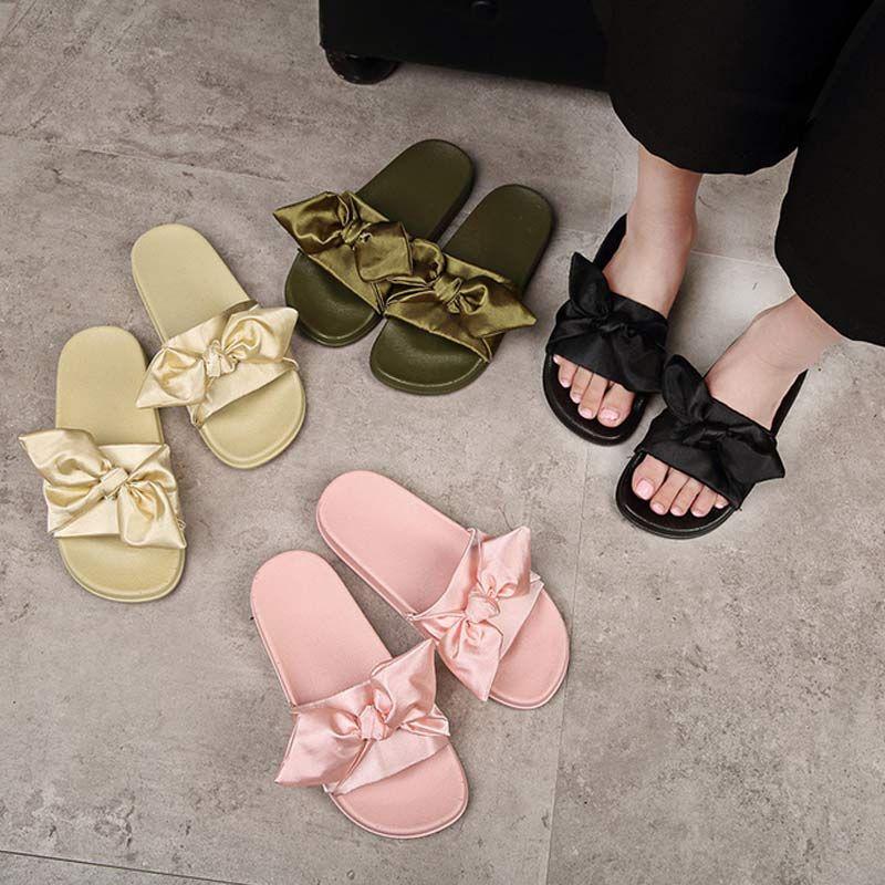 c064a72a4 Silk Bow Slides Women Summer Beach Shoes Woman No Fur Slippers Flat Heels  Flip Flops Ladies