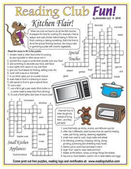 Kitchen Flair Crossword Puzzle Learn About The Appliances We Use When Cooking And Baking And Cooking And Baking Printable Puzzles For Kids Summer School Fun