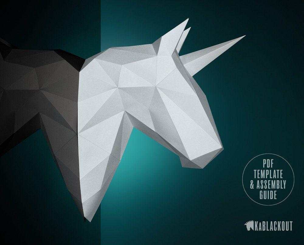 winter unicorn papercraft horse head wall decor trophy