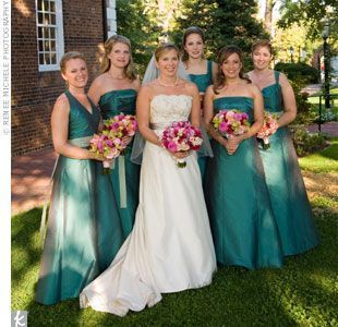 Teal Bridesmaid Dresses and Flowers