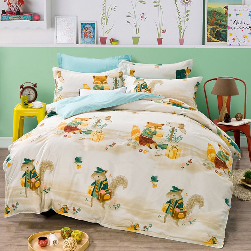 Arnigu Squirrel Fox Print Cartoon Pure Cotton Bed Sheet Pillowcase Bedding  Set 4pcs Twin Queen Full Size Duvet/Quilt Cover