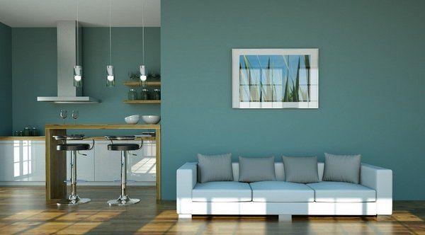 Teal Wall Color Open Plan Living Room White Sofa Gray Decorative Pillows  Wood Floor