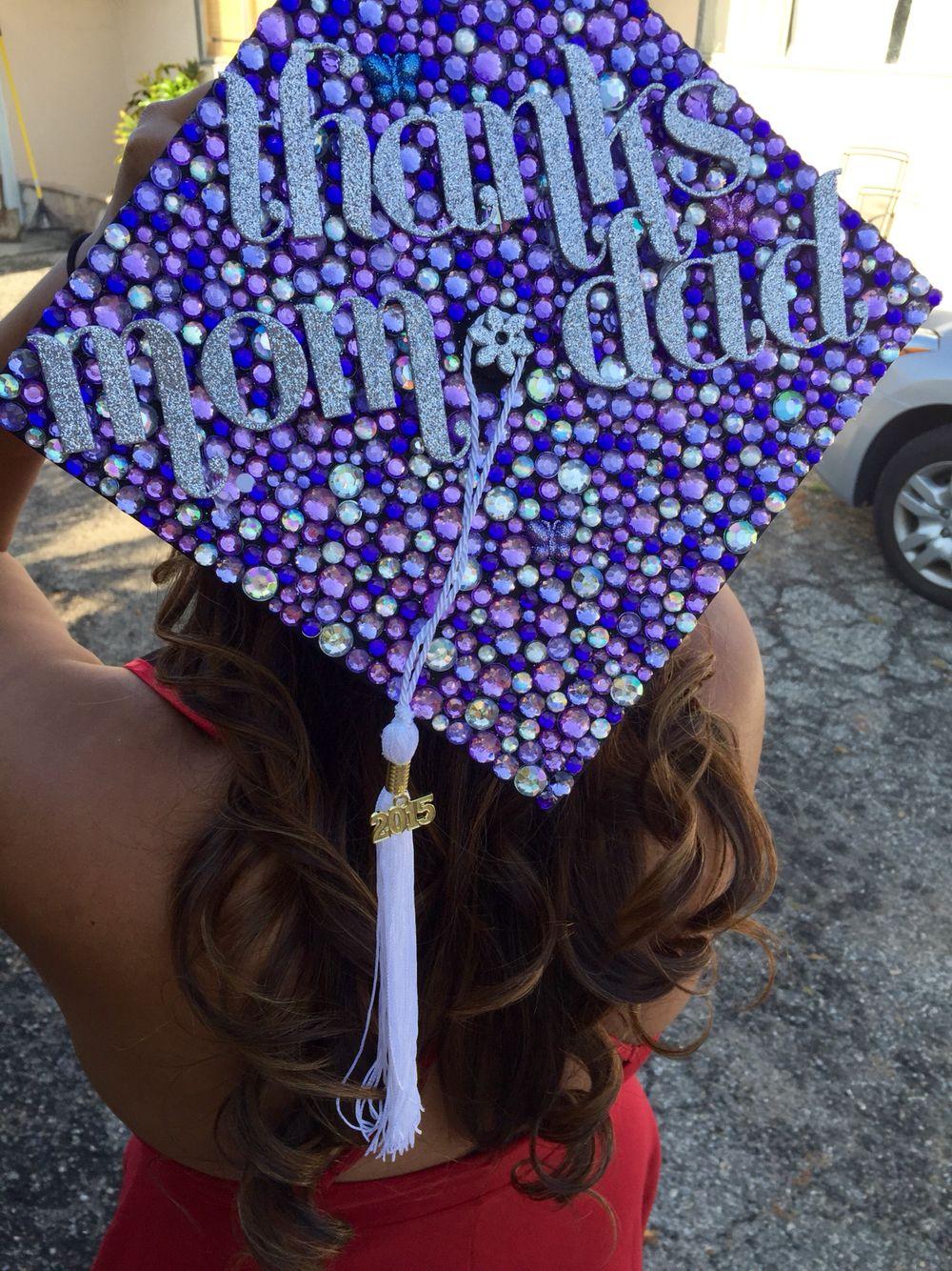 Bedazzled graduation cap with hidden butterflies :) thanks ...