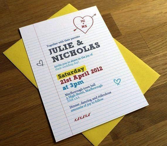 Invitation  Library Book Theme School Theme Teachers Wedding Invite  Sage Green Gold  Custom Colours Available  ONE SAMPLE Fun Wedding Invitation  Library Book Theme Scho...