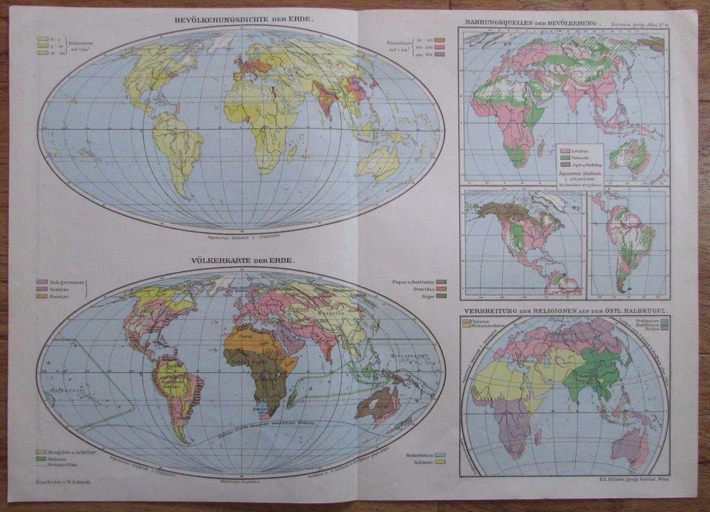 Details Zu Bevolkerungsdichte Volkerkarte Der Erde 41x29cm Alte