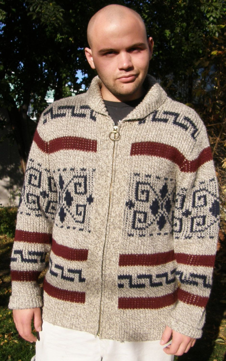 Men's Bridges Cardigan LEBOWSKI Vintage Zip Collar Pendleton Dude The Shawl Sweater L Jeff BIG Rare BTOAqR
