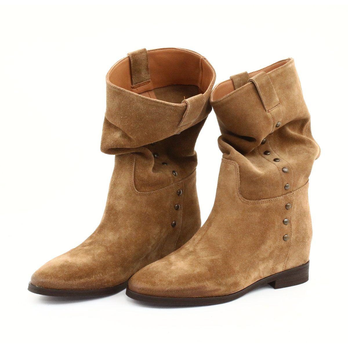 Zamszowe Botki Na Koturnie Badura 9441 Brazowe Boots Suede Boots Boot Shoes Women