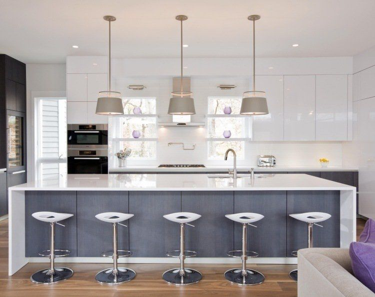 Plan De Travail Cuisine En Blanc Quartz Ou Corian Kitchen Dining