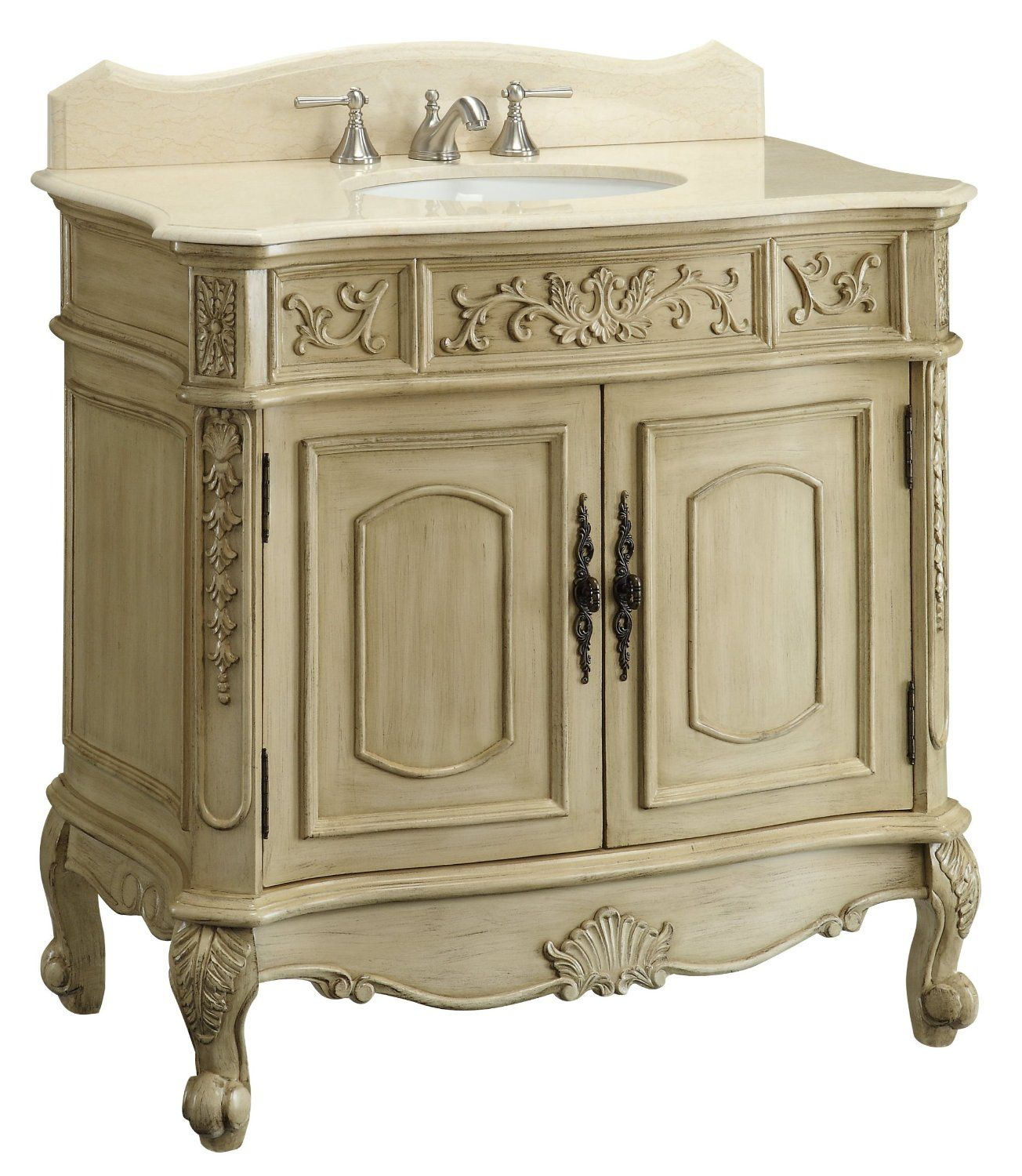 36 traditional style belleville sink vanity for Large white bathroom cabinet