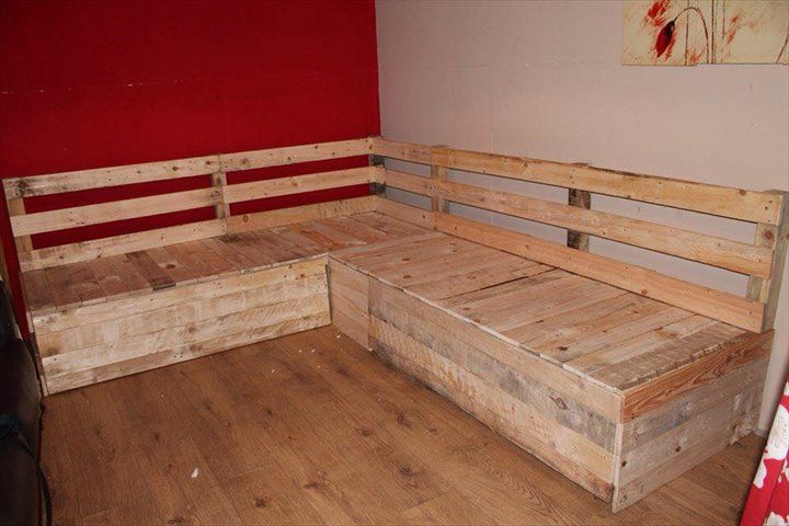 DIY Pallet Sectional Sofa with Storage Pallets Storage and