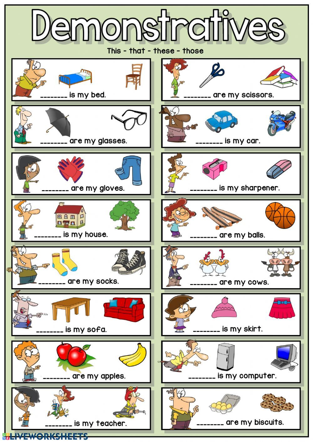 Demonstratives online exercise and pdf. You can do the exercises online or  download th…   English worksheets for kids [ 1413 x 1000 Pixel ]