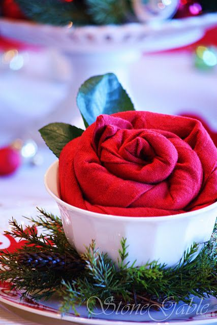 Red Rolled Napkin Roses Great for Christmas or Valentines Day or a wedding via stonegable.blogspot.com