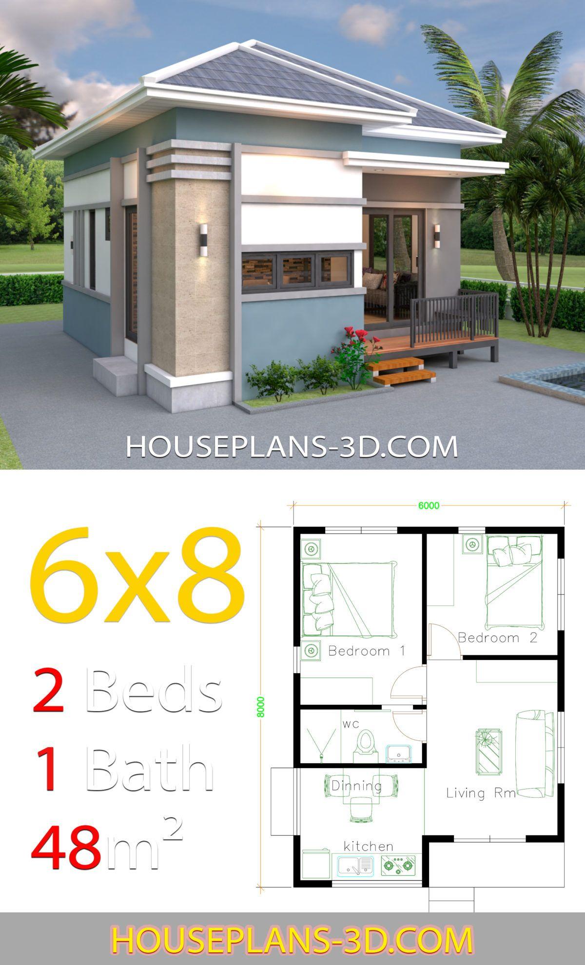 House Design 6x8 With 2 Bedrooms Hip Roof House Plans 3d Denah Rumah 2 Kamar Tidur Desain Rumah Kecil Desain Depan Rumah