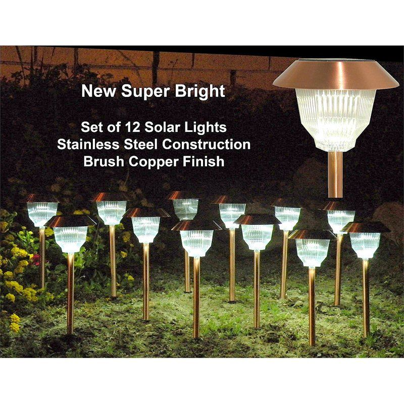 Homebrite copper garden landscape solar light with natural warm light small rockwell set of copper
