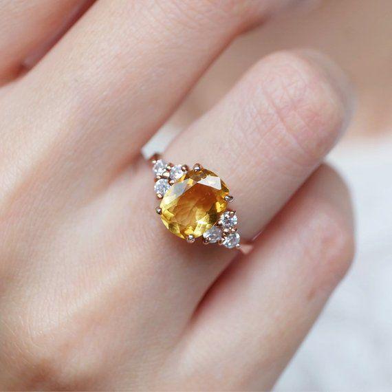 Art Deco Ring Yellow Gold White Gold SOLID 14k Citrine Baguette Ring Rose Gold November Birthstone Gold Citrine Baguette Ring
