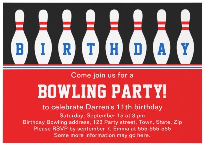 Bowling Birthday Party Invitation Wording Ideas