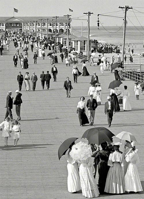 The Jersey Shore, USA circa 1905. Boardwalk at Asbury Park. S