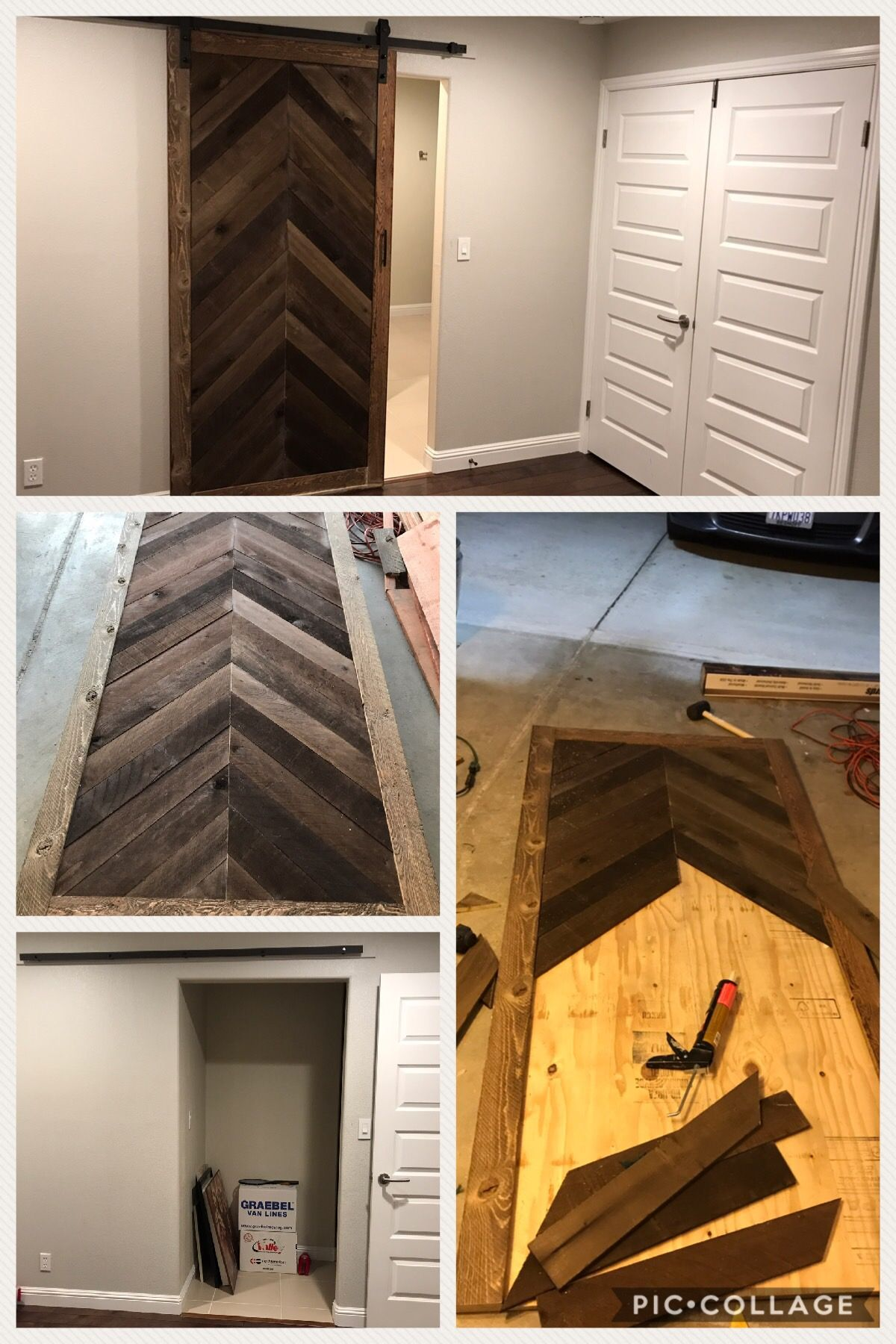 My Very First Barn Door Total Cost 140 Including 49 Hardware From Walmart And Plywood Ghostwood Making Barn Doors Modern Sliding Barn Door Diy Barn Door