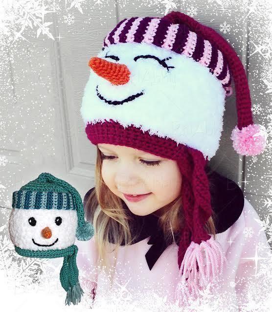 Bonnet bonhomme de neige 10 tailles du b b l 39 adulte crochet tricot et crochet enfants - Modele bonhomme de neige ...