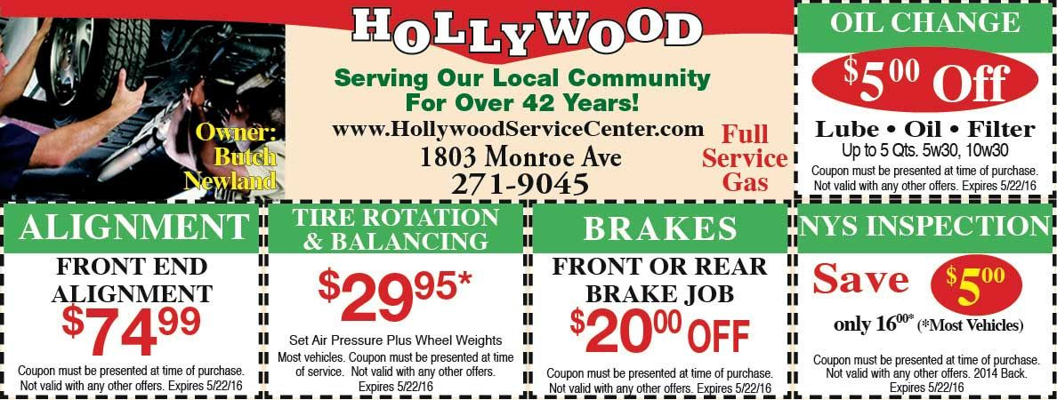 Hollywood auto service center with savings on alignment