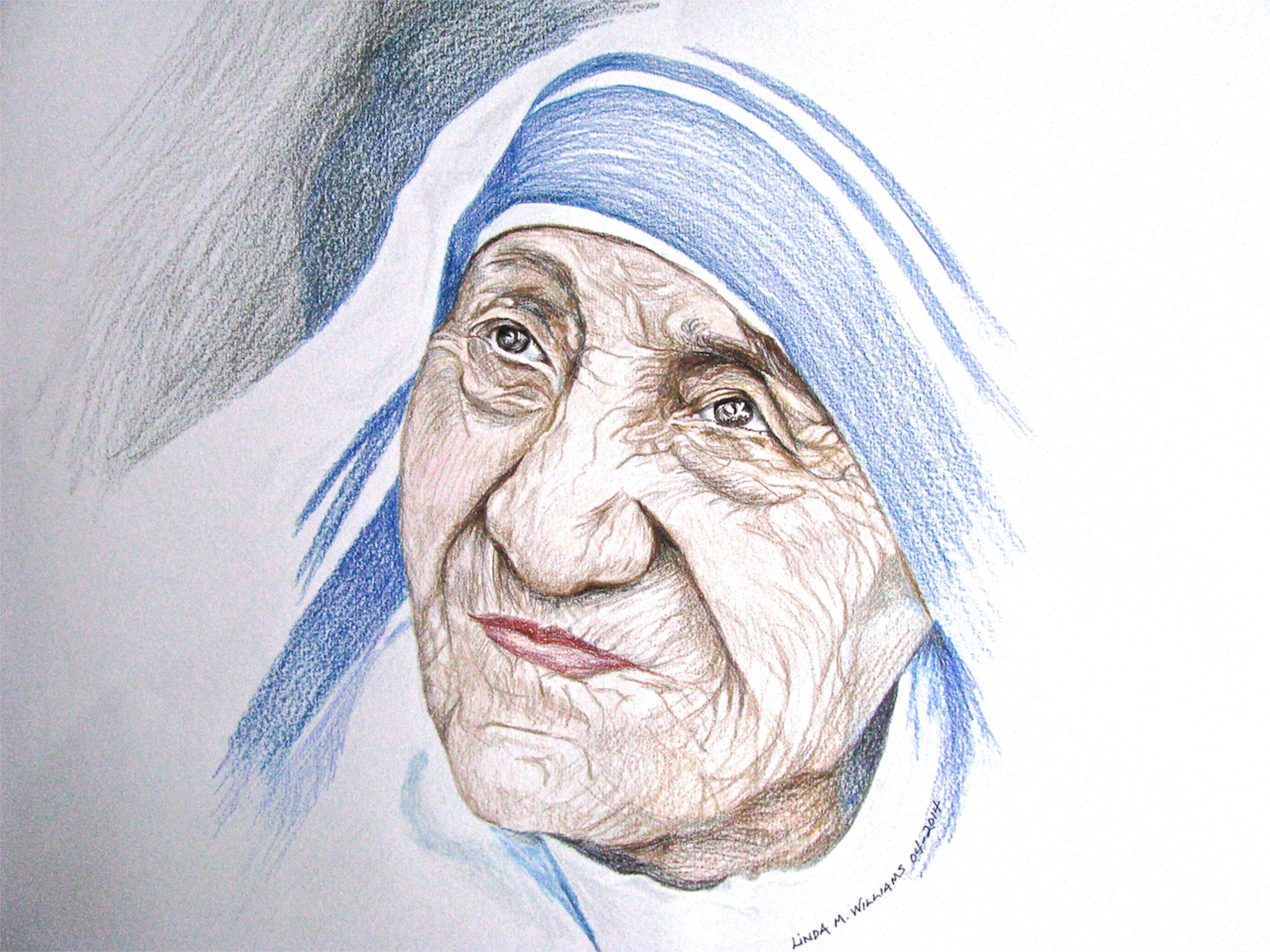 Mother teresa color pencil working on portraits