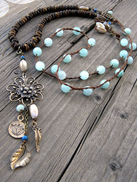 Long Braided Faceted Amazonite Shells Waxed Linen by DeetabyDesign, $90.00