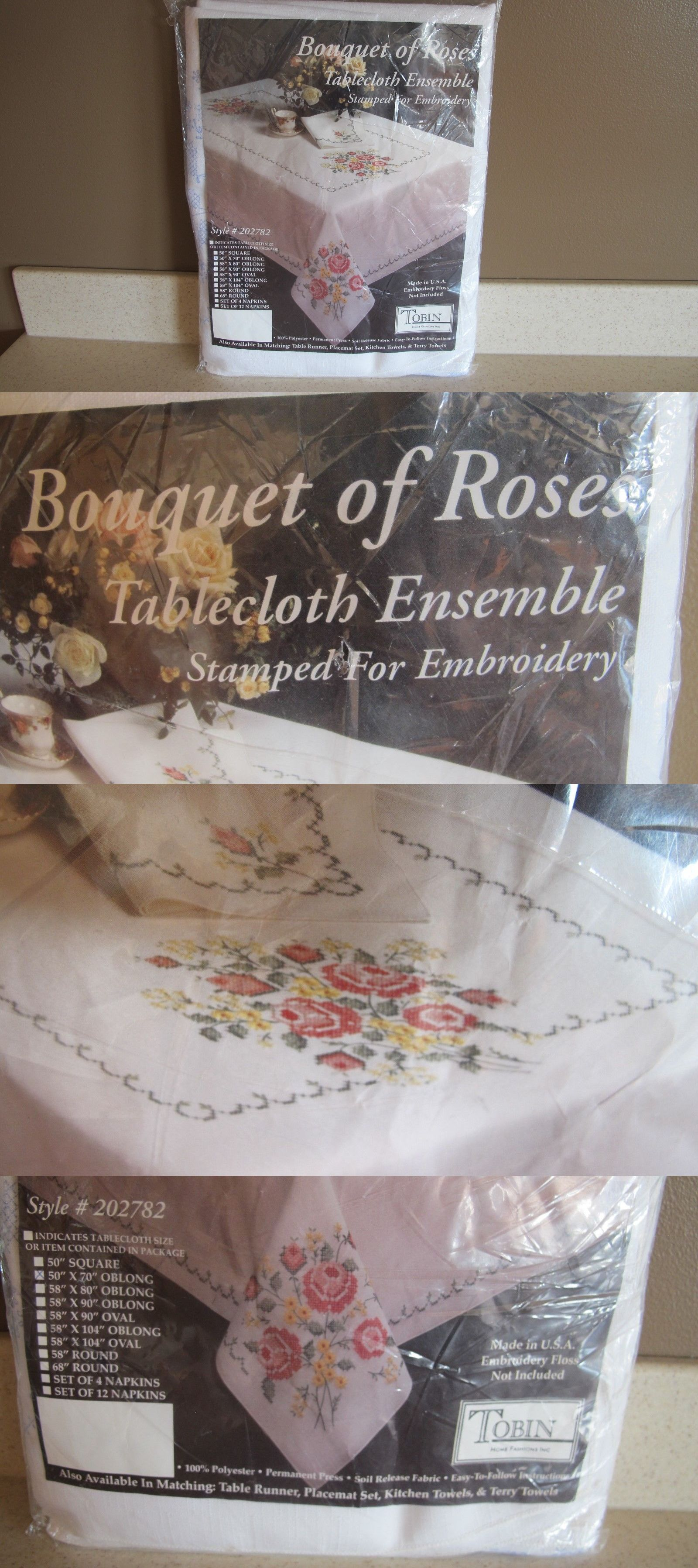 Stamped Linens 75566: Tobin Bauquet Of Roses Tablecloth Stamped Embroidery  Cross Stitch 50 X 70