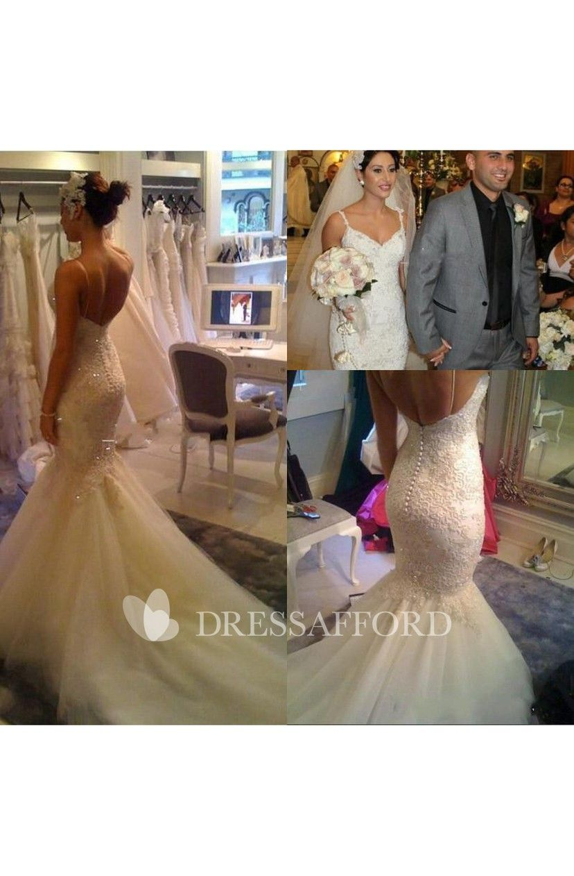 Lace Jeweled Detailing V-Neckline Spaghetti-Strap Gown ...