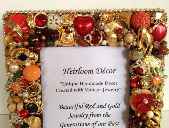 Jeweled Photo Frame, 5x7 Photo Frame, Embellished Frame, Red Gold ...