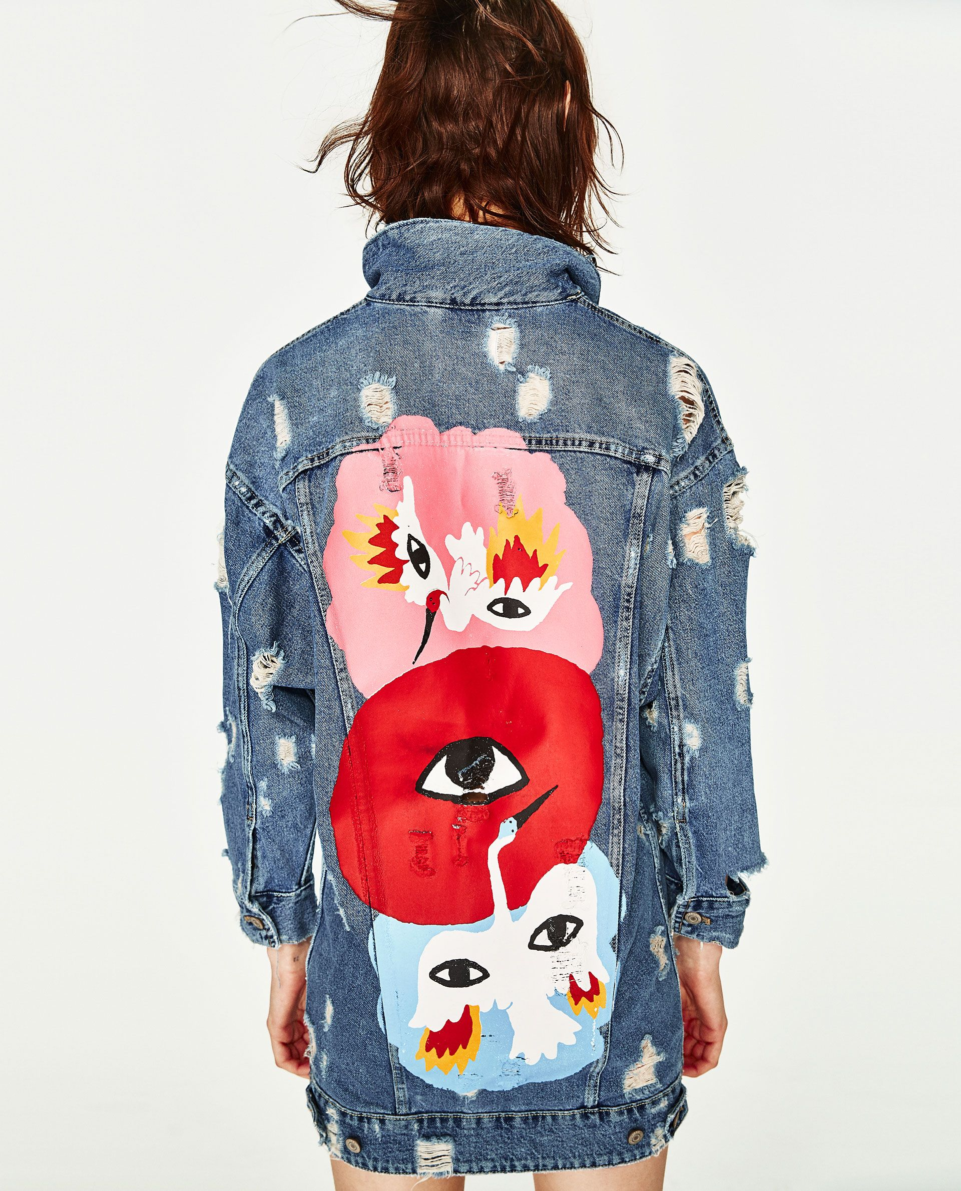Image 5 of OVERSIZED DENIM JACKET WITH EYES DESIGN from Zara Chaqueta Jeans 26a001be4a7