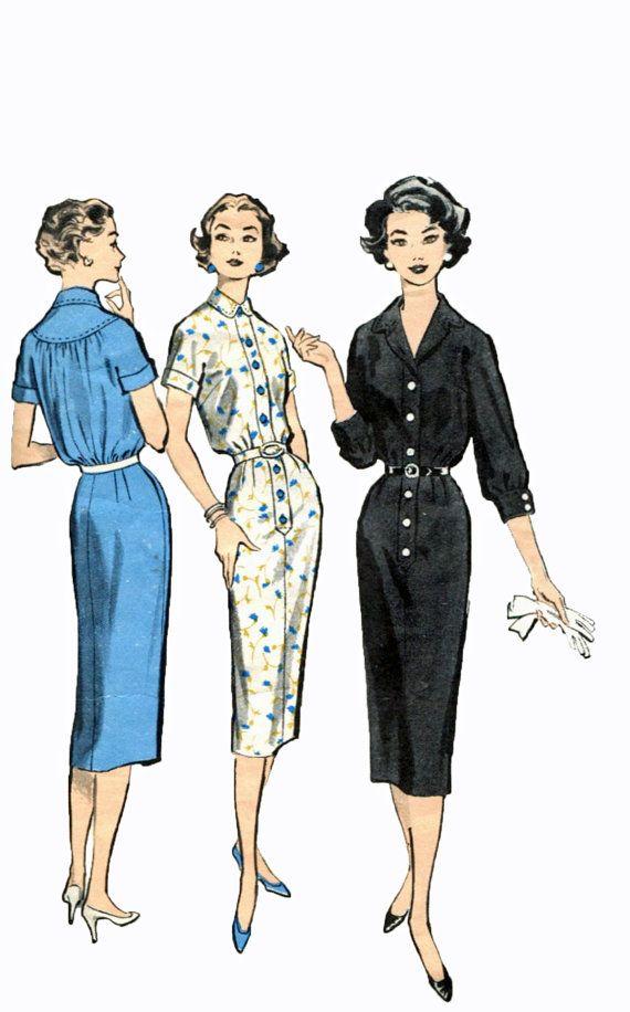1950s Fitted Sheath Dress Pattern Advance 8611 Standing