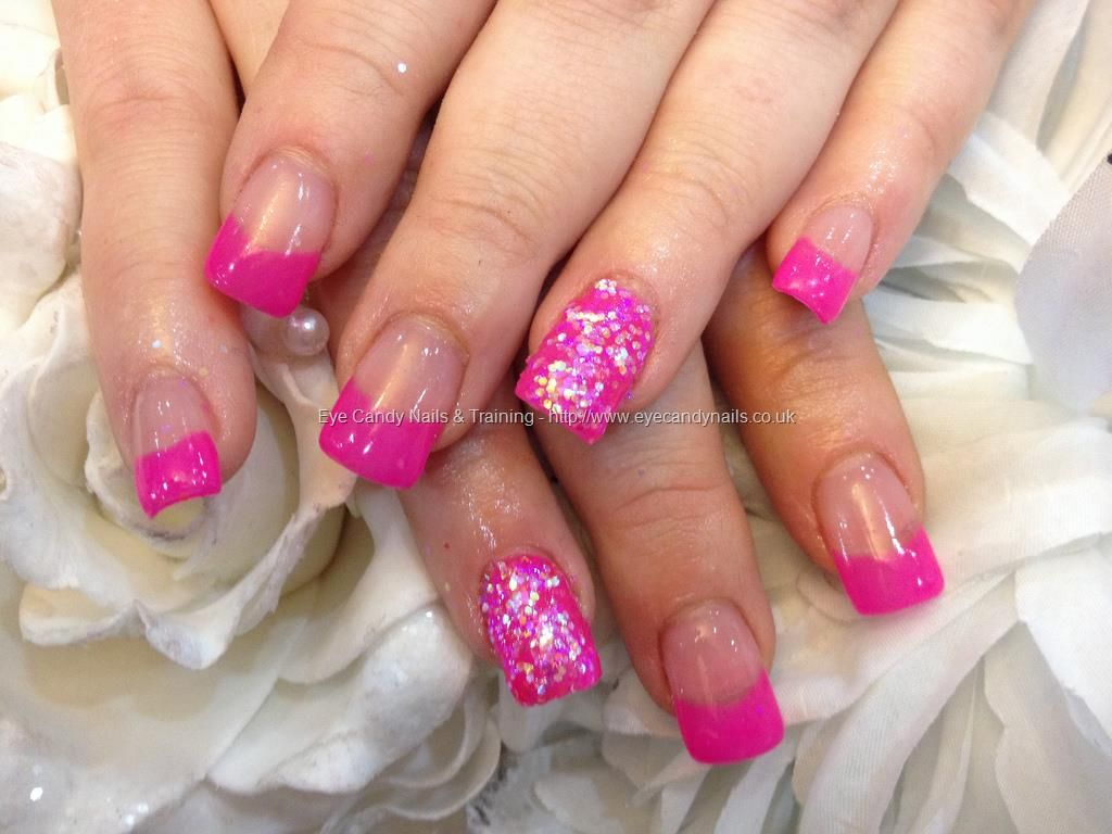 Full set of acrylic nails with pink gel polish and glitter ring ...