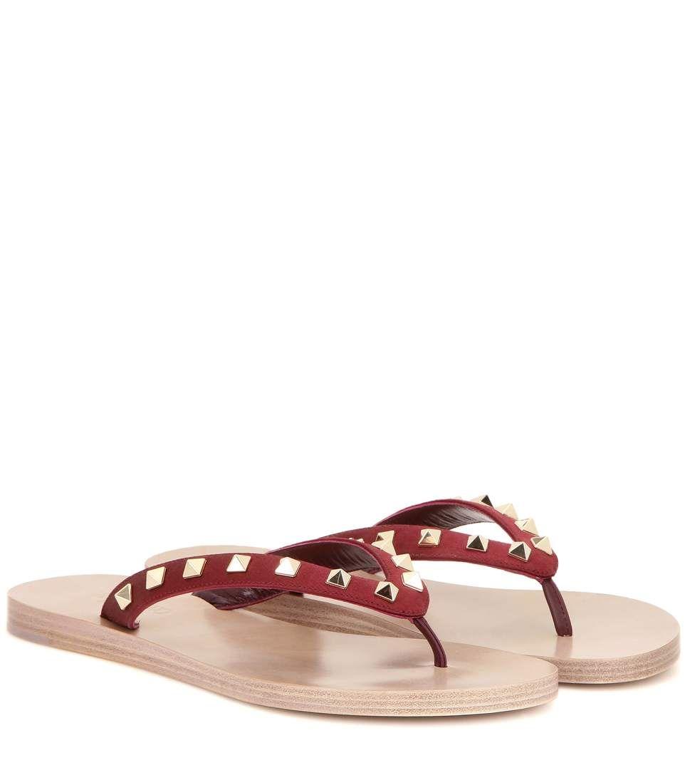 Shoes sandals flip flops - Valentino Rockstud Satin Flip Flops Valentino Shoes Sandals