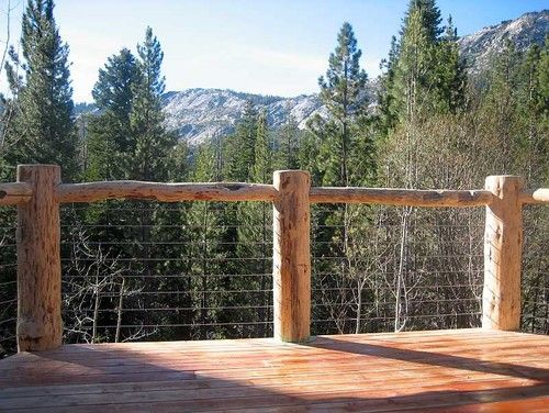 Rustic Log Look Using Cable Railing For Open Deck Mountain Home Ideas Pinterest Cable