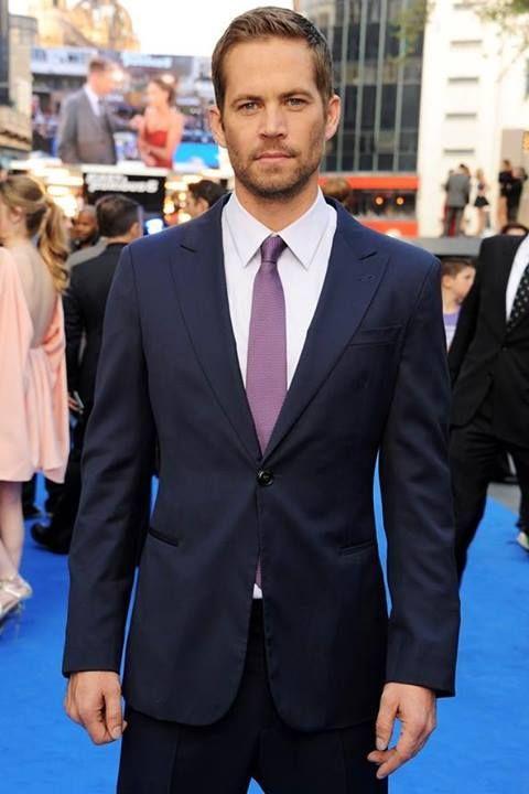 Paul Walker wearing Navy Suit, White Dress Shirt, Violet Tie ...