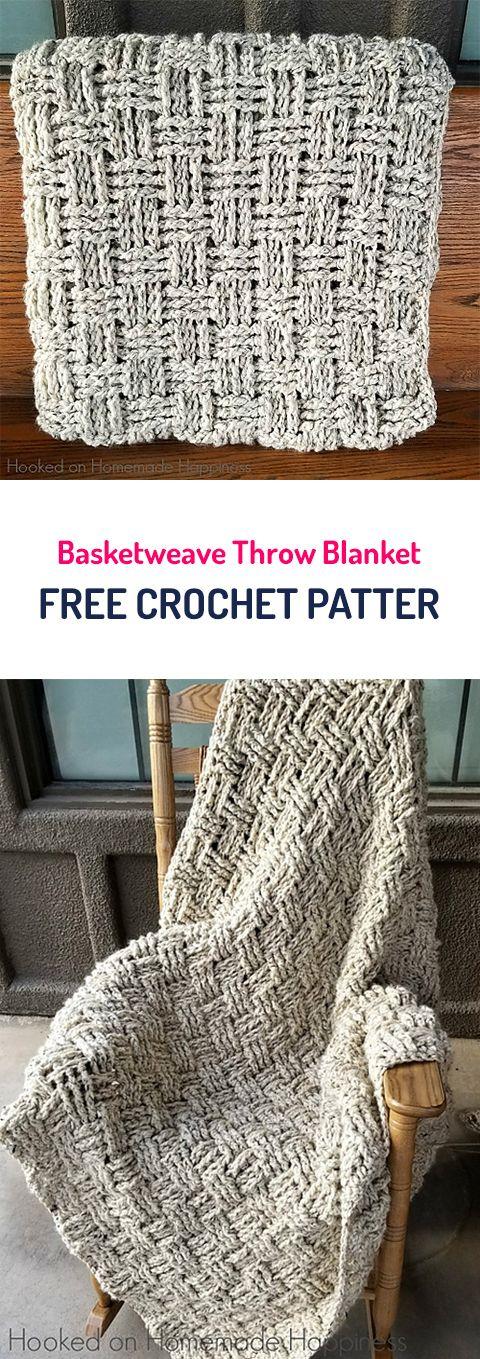 Basketweave Throw Blanket Free Crochet Pattern   Colchas y juegos de ...