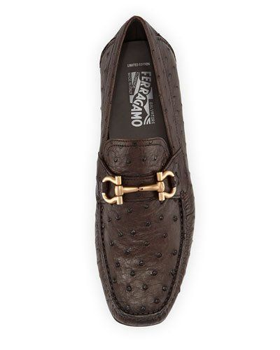 f0f445299fe Men s Designer Shoes at Neiman Marcus. N3A6J Salvatore Ferragamo Limited  Edition Parigi Ostrich Gancini Driver