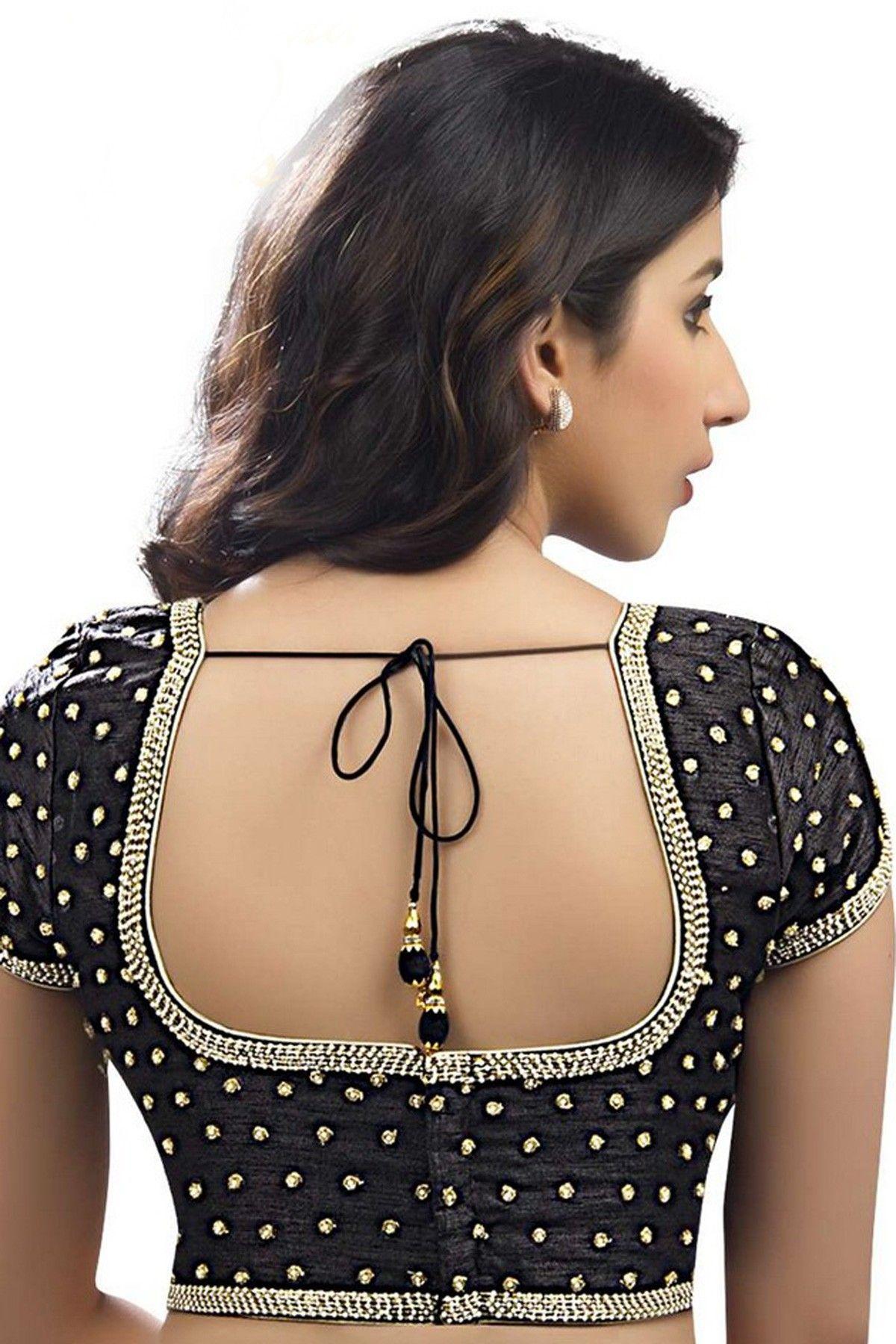 e5d245ebfc5e2b #Black & #silver designer wear raw silk #blouse with sweetheart neck -BL540
