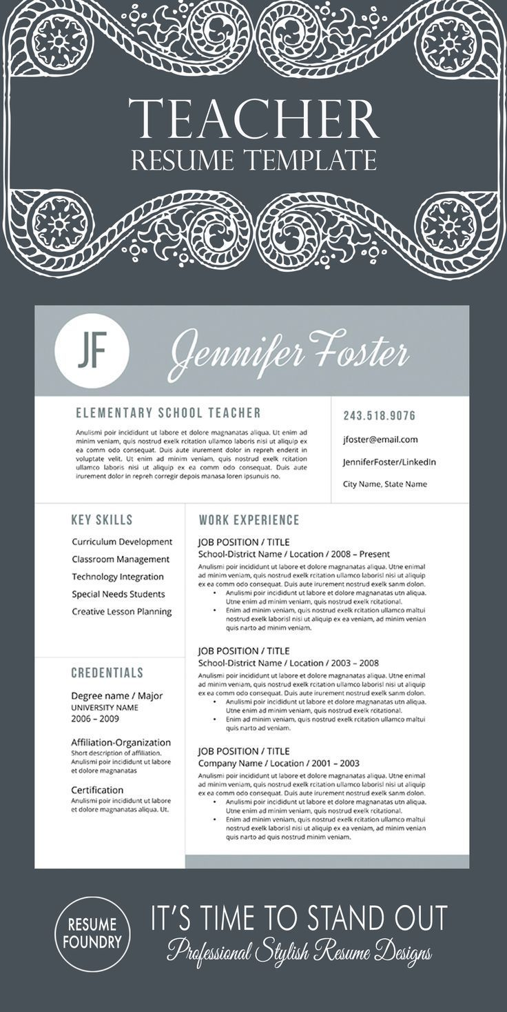 Unique teacher resume template professionally designed