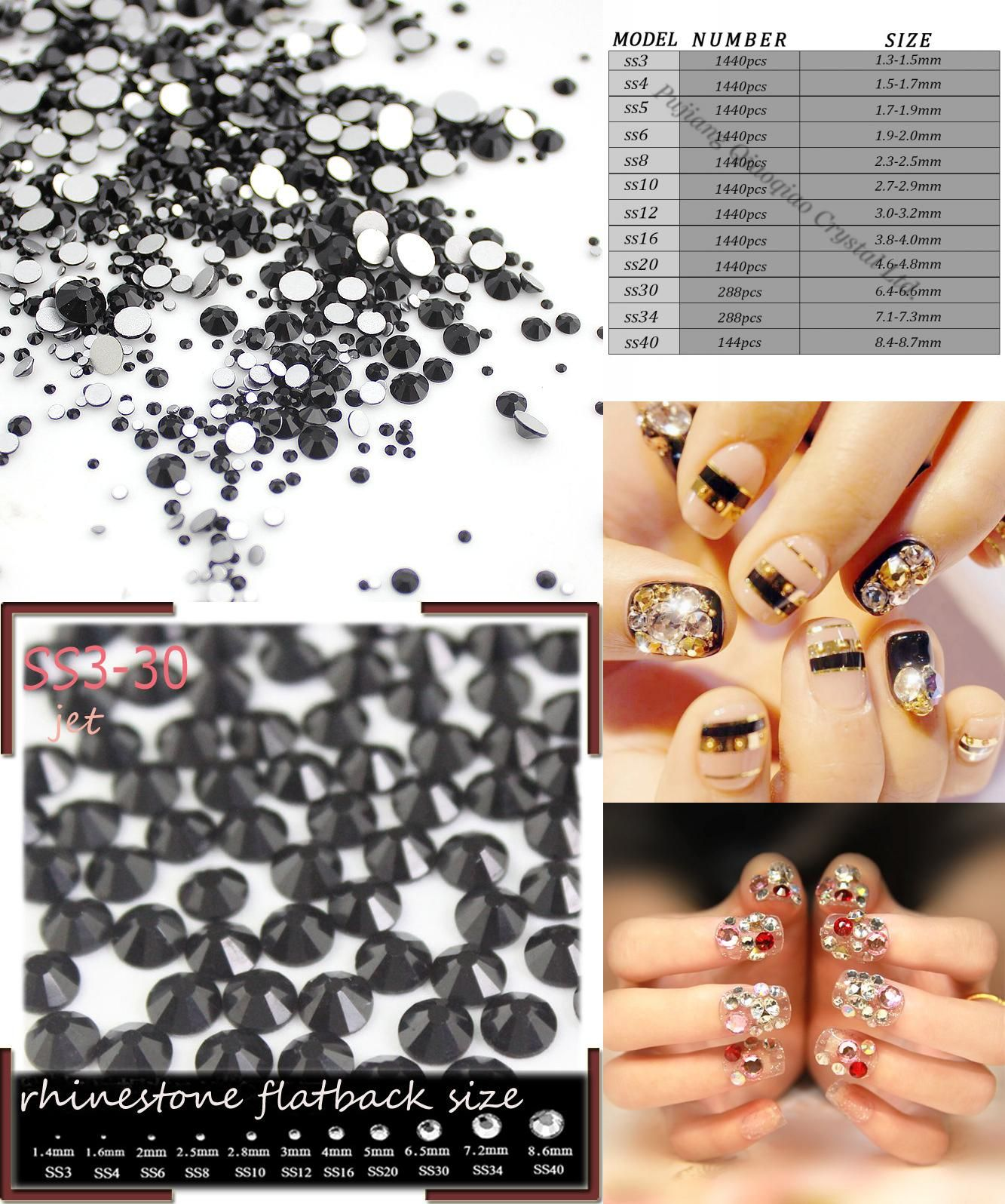 [Visit to Buy] Mix Sizes Jet 1000pcs Nail Rhinestones, Flat Back Non Hotfix Glitter Nail Stones,DIY 3d Nail Phones Decorations Supplies Black #Advertisement