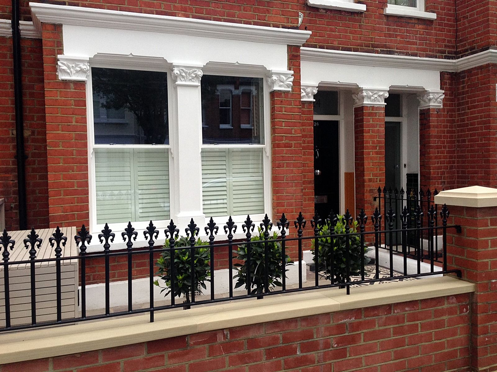 red brick front garden wall yellow stone caps sandstone ...
