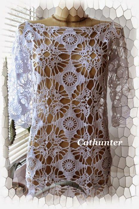 Crochet y Dos agujas: Túnica artesanal | Crochet para Casa ...