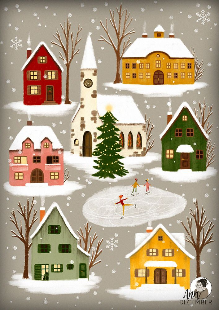 Cozy little winter town, snowflakes falling, children ice-skating - in love with...